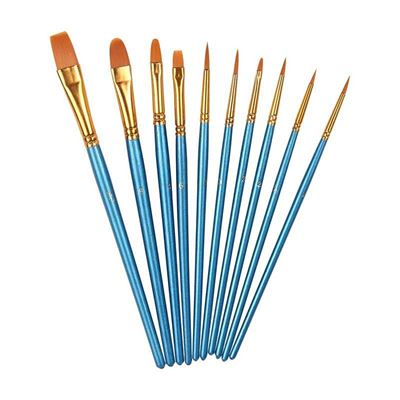 Picture of Heartybay 10Pieces Round Pointed Tip Nylon Hair Brush Set, Blue
